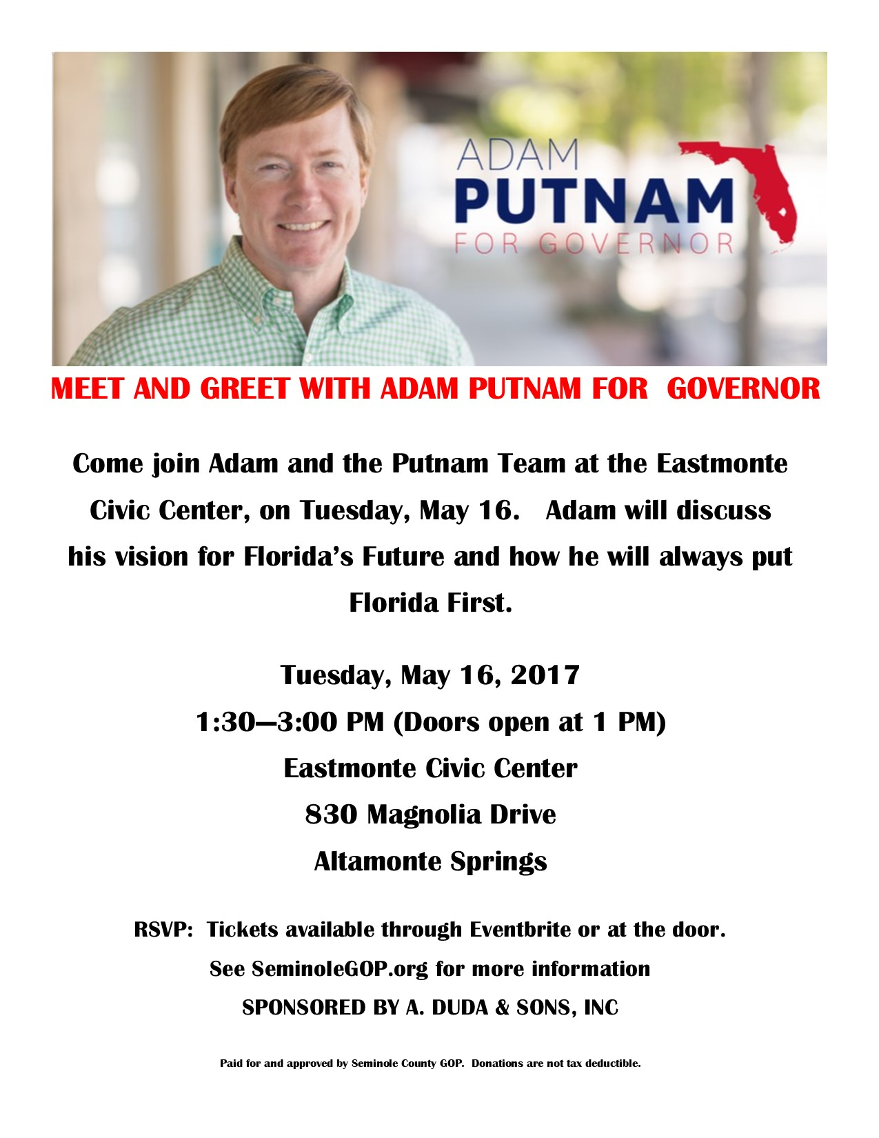 Adam Putnam Seminole County Gop To Host Altamonte Springs Meet And